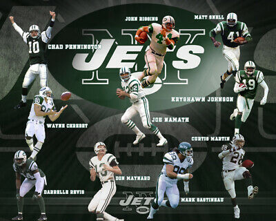 New York Jets Lithograph print of All time greats