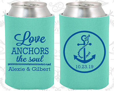 Personalized Wedding Koozies Custom Koozie (40) Anchor Wedding Favors - Personalized Koozie