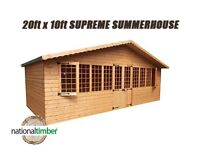 20FT x 10FT SUMMER HOUSE SUPREME LOG CABIN OFFICE BAR SHED HIGH QUALITY TIMBER