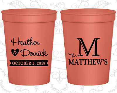 Personalized Wedding Party Cups Custom Cup (02) Wedding Monogram