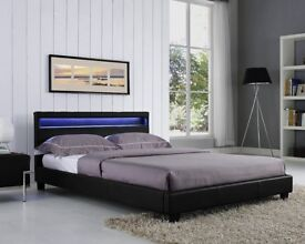 CHEAP BED FRAME DOUBLE KING SIZE LEATHER BEDS WITH BASIC & MEMORY FOAM MATTRESS DEAL