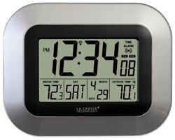 Crosse Technology Atomic Digital Wall Clock with Indoor and Outdoor Temperature