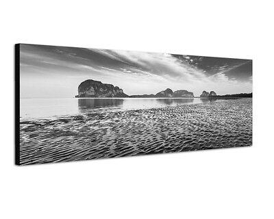 Strand Weiße Spiegel (150x50cm Strand Meer Felsen Wolkenschleier Spiegelung)