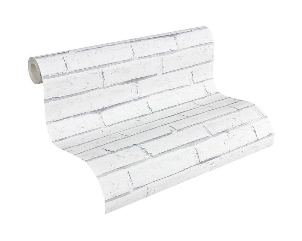 """30169-2) Papier Tapete Stein-Dekor Backstein weiss grau """"Authentic Wall"""""""