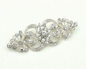 Vintage Style Bridal Wedding Bouquet Shiny Diamante Brooch Pin BR296