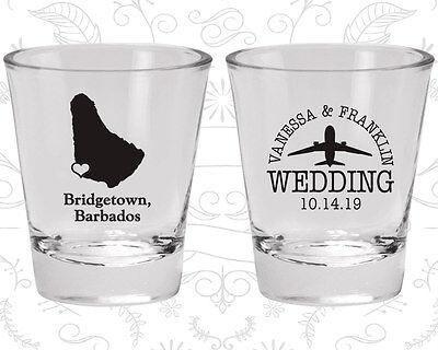Personalized Shot Glasses Wedding (Wedding Shot Glasses Personalized Shot Glass (160) Barbados Wedding)