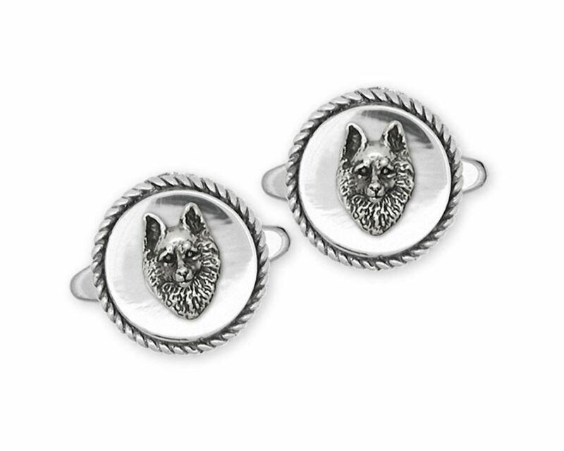 Schipperke Jewelry Sterling Silver Schipperke Cufflinks Handmade Dog Jewelry SC1