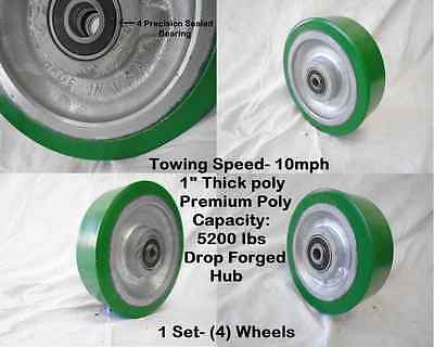 """Used, 10"""" x 3"""" Heavy Duty Polyurethane Towing Caster Wheel 5200 lbs each/ MFG. USA (4) for sale  Shipping to Canada"""