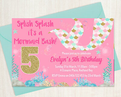 Custom Printable Girl Birthday Invitation Any Age Mermaid Tail Pink, Blue & Gold Custom Printable Birthday Invitations