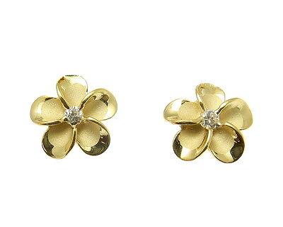 - YELLOW GOLD PLATED SILVER 925 HAWAIIAN PLUMERIA FLOWER STUD POST EARRINGS CZ 8MM