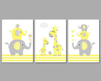 3 Wall Art Nursery Prints Yellow & Grey Elephant Stack Giraffes Birds Baby Gift