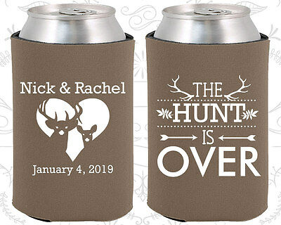 Personalized Wedding Coozies Custom Coozie (471) The Hunt Is Over (Personalized Coozies)