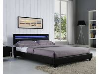 🔲🔳 QUICK DELIVERY🔲🔳 Brand New Double or King Leather Bed With 10 inch White Orthopedic Mattress