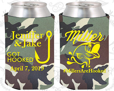 Personalized Wedding Koozies Custom Koozie (530) Fishing Wedding Favors - Personalized Koozie