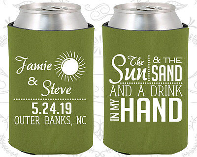Personalized Wedding Coozies Custom Coozie (401) Sun And Sand, Beach (Wedding Coozies)