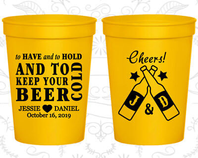 Personalized Wedding Plastic Cups Custom Cup (433) Cheers Wedding Favors
