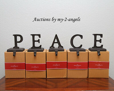 NEW Pottery Barn Christmas PEACE Word Stocking Holder Holders Hangers BRONZE!