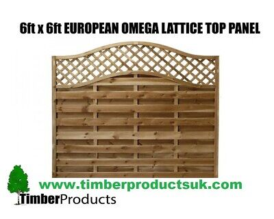 *PACK OF 10* Euro Fence Panel 6x6 Omega Decorative Top Garden