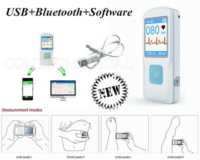 Handheld Portable Ecg Ekg Machine Lcd Heart Beat Monitor Bluetoothusbsoftware