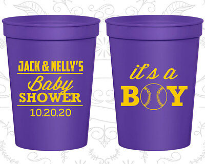 Baseball Plastic Cups (Baby Shower Plastic Cups Cup Favors (90143) it's a Boy, Baseball,)