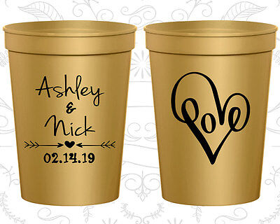 Personalized Wedding Party Cups Custom Cup (252) Heart Wedding Favors