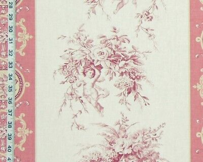 Pink angel toile fabric floral stripe French home decorating material -
