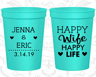 Personalized Wedding Plastic Cups Custom Cup (393) Happy Wife Happy Life - Custom Plastic Cups