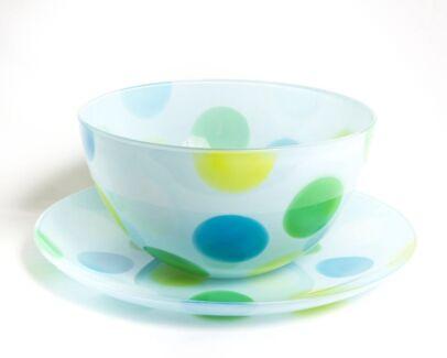Glass spot bowl and serving platter