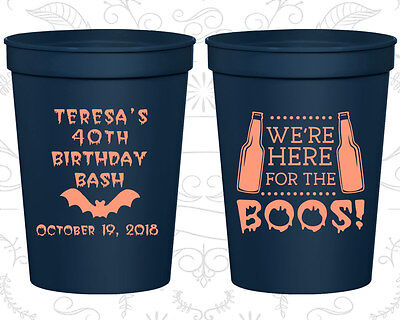 Personalized 40th Birthday Plastic Cups Custom Cup (20198) Halloween, Beer - Custom Plastic Cups