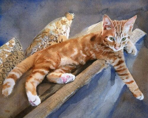 Orange Marmalade Tabby Cat Art Giclee print Tiger Watercolor Picture Decor