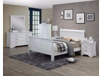 Louis Phillipe 6 piece bedroom set solid wood part built brand new white or grey