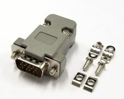 HD15 Pin Male D-Sub VGA Cable Mount Connector w/ Plastic Cover & Hardware - Db15 Vga Cable