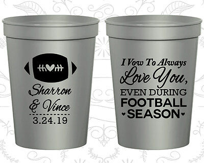 Personalized Wedding Party Cups Custom Cup (302) Football Wedding - Personalized Plastic Footballs