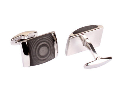 Stainless Steel Cufflinks for Mens with Carbon Fiber Inlay with Jewelry Box (Carbon Fiber Mens Cufflinks)