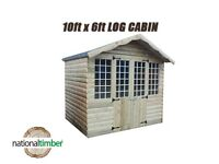 10FT x 6FT ULTIMATE LOG CABIN SUMMER HOUSE OFFICE BAR SHED HIGH QUALITY TIMBER