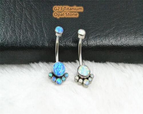 10pcs G23 Titanium Opal Stone Navel belly ring Button Barbell Body Piercing 14G