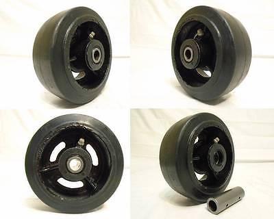 5 X 2 Rubber Caster Wheels Steel Hub W Roller Brg 12 Bushing 400lb Ea 4