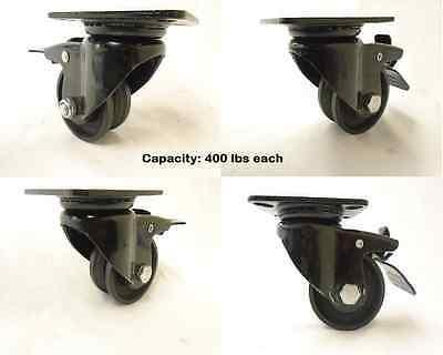3 X 1-12 Swivel Caster 78 V-groove Iron Steel Wheel Total Lock Brake 4