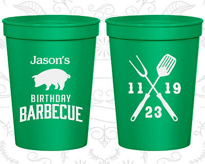 Personalized Birthday Plastic Cups Custom Cup (20253) BBQ, Barbecue, Summer - Custom Plastic Cups