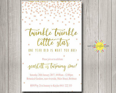 Printable Girls Birthday Invitation Twinkle Twinkle Little Star AnyAge Pink Gold - Twinkle Twinkle Little Star Birthday Invitations