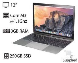 "Silver 12"" Apple Macbook Retina Display Core M3 1.1Ghz 8gb Ram 250GB SSD Adobe Microsoft Office 2016"