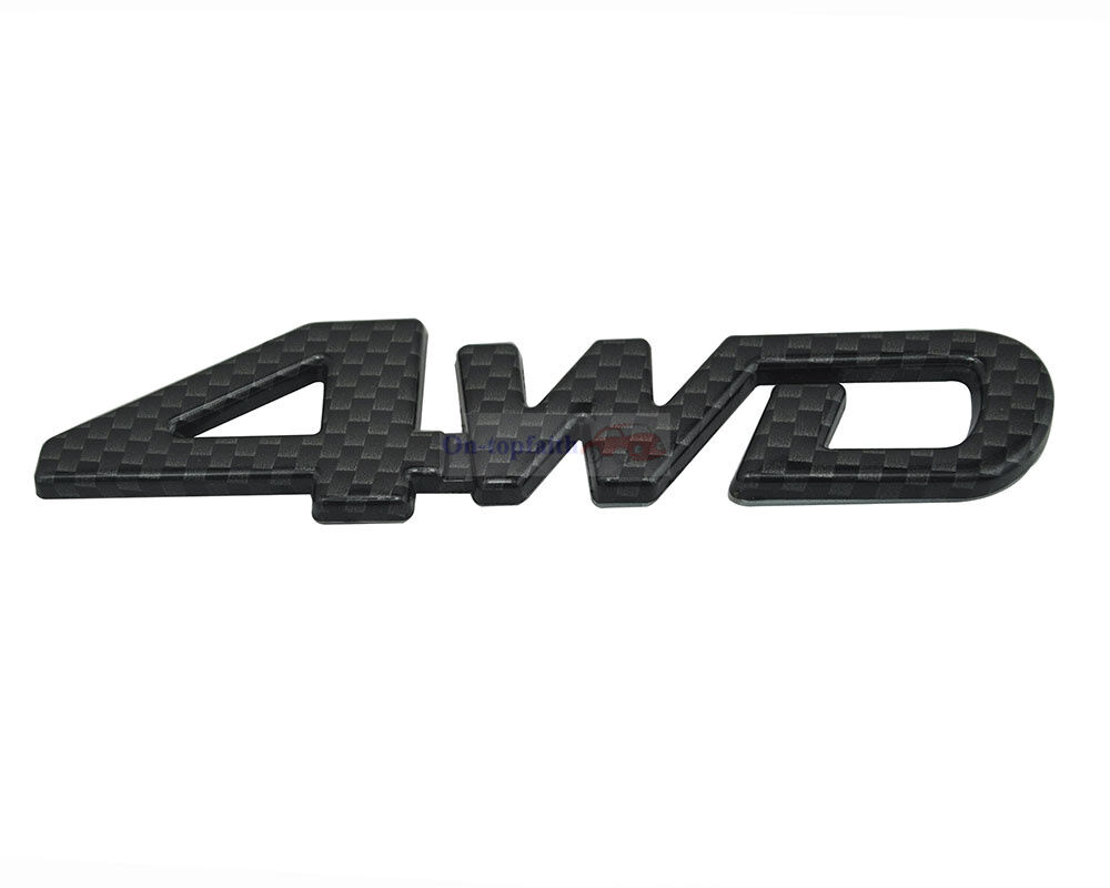 Black Carbon Fiber Plastic 4x4 4-x-4 4 4WD Trunk Rear Emblem Badge Sticker Jeep