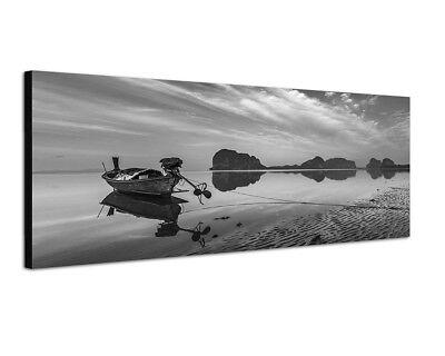 Strand Weiße Spiegel (150x50cm Strand Meer Boot Felsen Wolken Spiegelung)