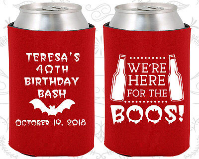 Personalized 40th Birthday Party Ideas Coozies (20198) Halloween Birthday, Beer - Halloween Birthdays Ideas