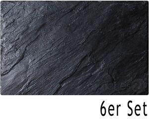 (14,49€/1Stk) Tischsets Platzsets MOTIV schwarzer Schiefer 6 Stk abwaschbar 43,5