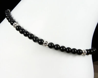 Black Onyx Anklet with Sterling Silver Accents - Small to Plus Size