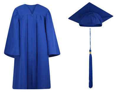 Royal Blue Matte Graduation Cap Gown and Tassel - 13 sizes available - Royal Blue Cap And Gown