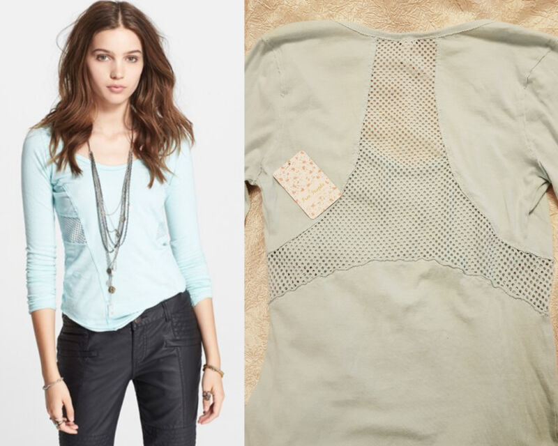 Free People Cozy Jersey Jane Long Sleeve Mesh Back Inset Tee Sky Blue M