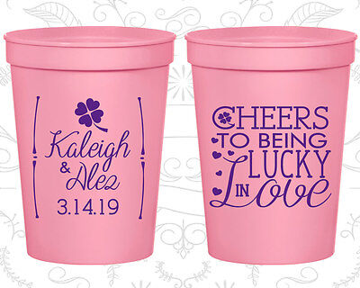 Personalized Cheap Wedding Cups Custom Cup (328) Lucky In Love, Irish Favors