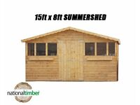15FT x 8FT SUMMER HOUSE WITH 1FT OVERHANG/GARDEN SHED! TOP QUALITY TIMBER